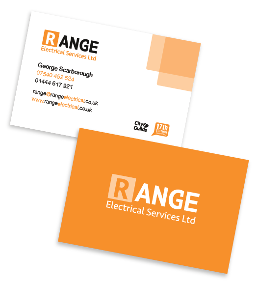 Business cards for Range Electrical Services