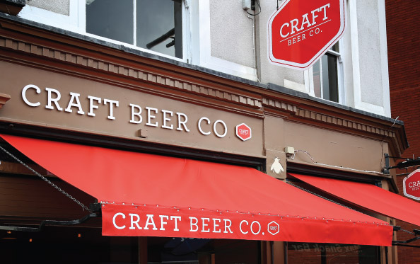Shop front signage for The Craft Beer Co