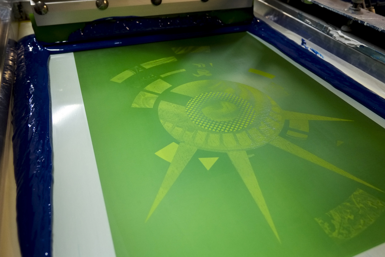 Cyan Ink Screen Print