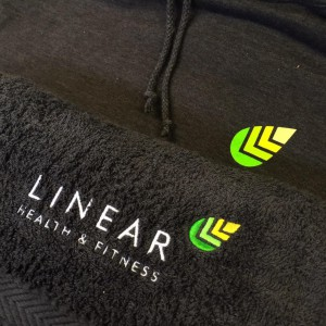 Towel embroidery for Linear Health & Fitness