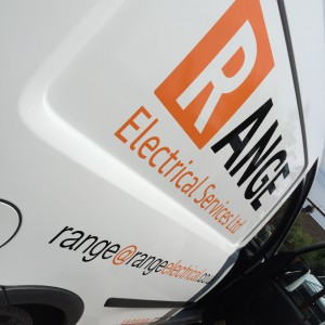 Vehicle signage for Range Electrical Services