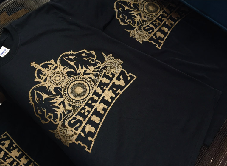 Serial Killaz screen printed with gold shimmer ink