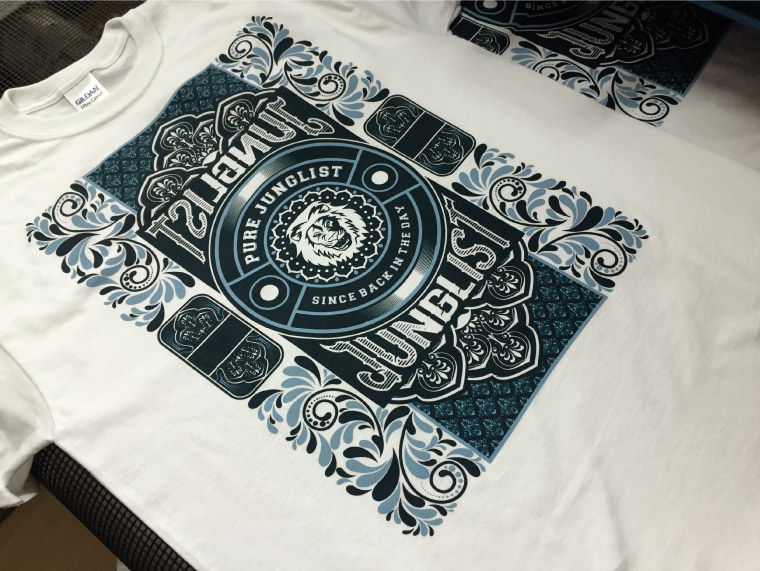 Screen printed t-shirts coming of the dryer