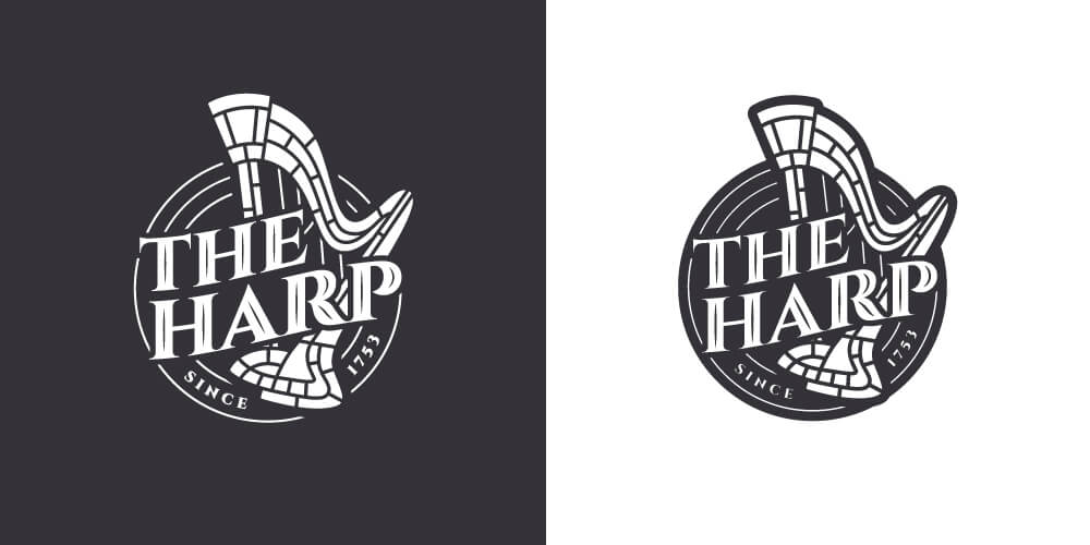 The Harp Logo Design