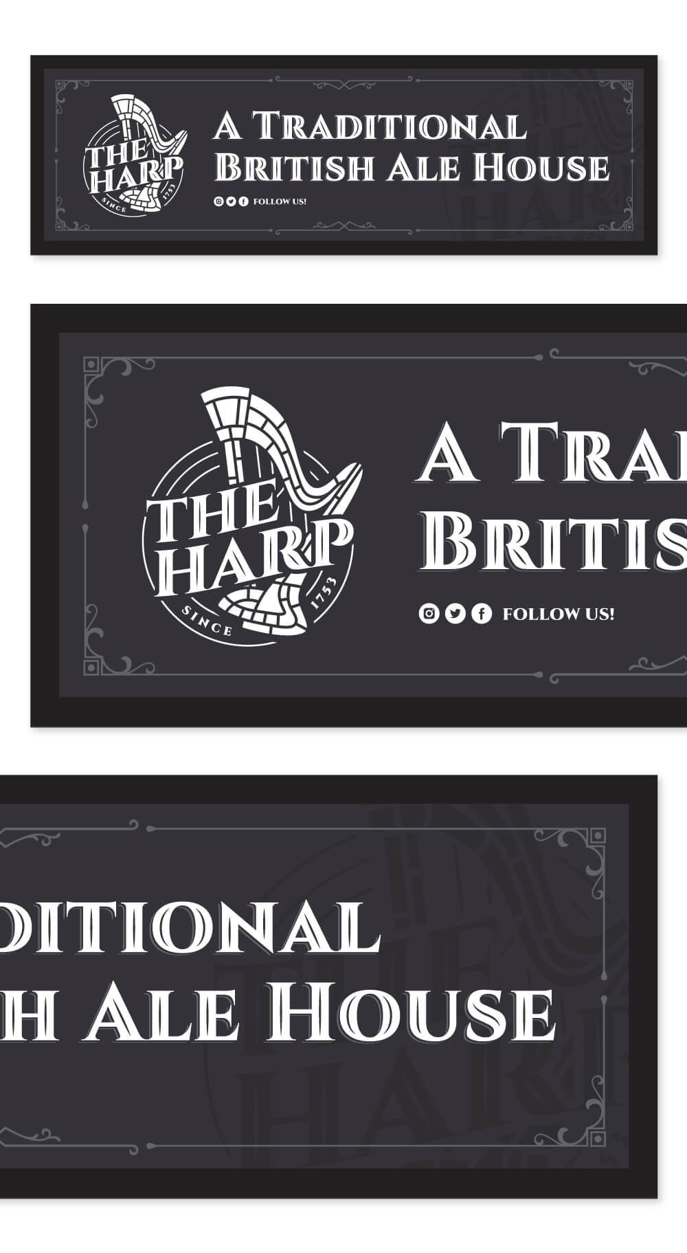 The Harp Pub Bar Runner Design